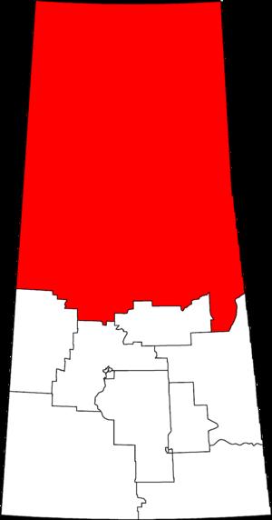 Desnethé—Missinippi—Churchill River - Desnethé—Missinippi—Churchill River in relation to other Saskatchewan federal electoral districts as of the 2013 Representation Order.