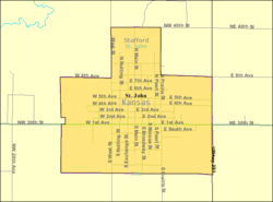 Detailed map of St John, Kansas