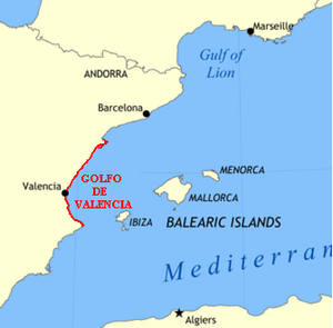 Gulf of Valencia - Gulf of Valencia location in the Western Mediterranean, in this map the northern limit is drawn at the Ebro delta