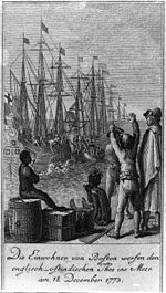 The residents of Boston throw the Anglo-East Indian tea into the sea on December 18, 1773.jpg