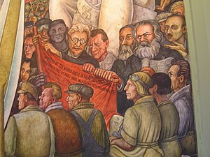 Anti-Stalinist left - A Diego Rivera mural (Man, Controller of the Universe) depicts Trotsky with Marx and Engels as a true champion of the workers' struggle.