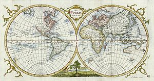 "Thomas Kitchin - ""The World From the Best Authorities "" engraved by Thomas Kitchin, published in Guthrie's New Geographical Grammar, 1777."