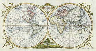 """Thomas Kitchin - """"The World From the Best Authorities """" engraved by Thomas Kitchin, published in Guthrie's New Geographical Grammar, 1777."""