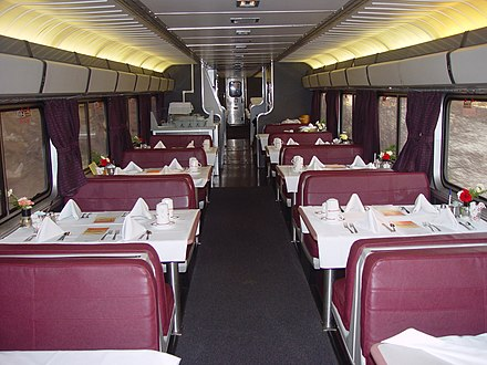 A Superliner dining car on the California Zephyr in 2005 Dining car.jpg