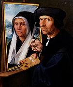 Dirck Jacobsz - Jacob Cornelisz. van Oostsanen Painting a Portrait of His Wife - Google Art Project.jpg