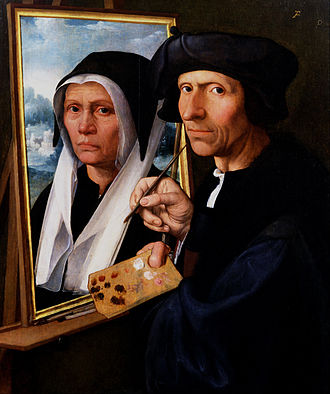 Jacob Cornelisz van Oostsanen - Painting a Portrait of His Wife