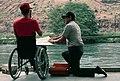 Disabled angler and BLM ranger,Lower Deschutes River, Bureau of Land Management (36338520245).jpg
