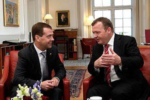 Lars Løkke Rasmussen - Lars Løkke Rasmussen and Russian President Dmitrij Medvedev in the Prime Minister's office at Christiansborg in Copenhagen, Denmark, 28 April 2010.
