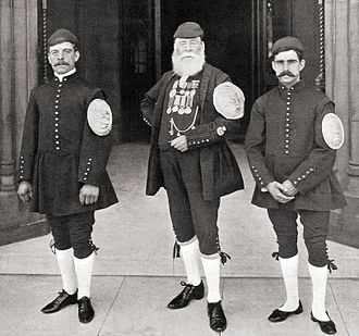 Doggett's Coat and Badge - Three winners of the race. Pictured, left to right, are: J. J. Turferry (winner in 1900), W. H. Campbell (1850), A. H. Brewer (1901)