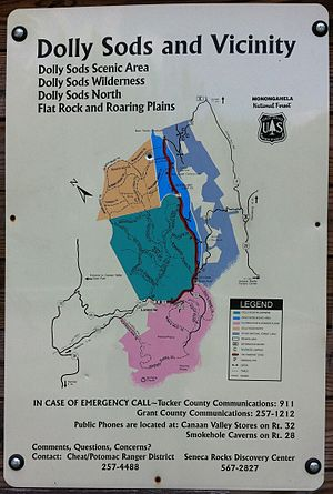 Roaring Plains West Wilderness - Image: Dolly Sods map