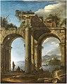Domenico Roberti - Capriccio with classical architecture and a seaview.jpg