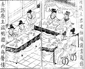 Dong Zhuo - A Qing Dynasty illustration of Dong Zhuo's plan to depose Emperor Shao of Han during his rise to power.