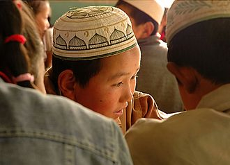 Dongxiangs - Image: Dongxiang minority student