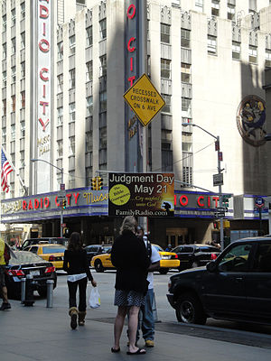 2011 end times prediction - A demonstrator at Radio City Music Hall.