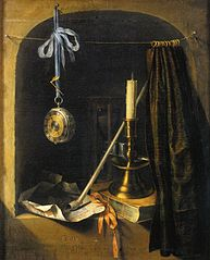 Still life with candle and watch