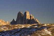 Le Tre Cime di Lavaredo, nelle Dolomiti di Sesto, di Braies e d'Ampezzo
