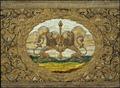 Drottning Kristinas kröningshimmel, detalj på spiran, hållen av två lejon stående på bakbenen - Livrustkammaren - 5326.tif
