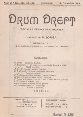 Nicolae Iorga - Cover of Drum Drept, issue no. 48–52, dated December 31, 1915