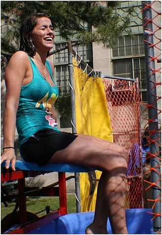 "Dunk tank - ""Victim"" seated in a dunk tank for a sorority fundraiser"