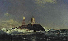 A painting of a wave-lashed rock in the midst of the sea. There are two structures on the rock – a small capsule on a lattice of metal legs and a short stone tower attended by various lifting devices.