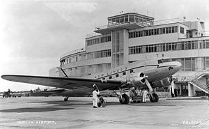 Dublin Airport - An Aer Lingus DC-3 plane at Dublin Airport's original Terminal 1 in May 1950.