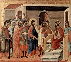 Jesus at Herod's court - Jesus at Herod's Court, by Duccio, c. 1310.
