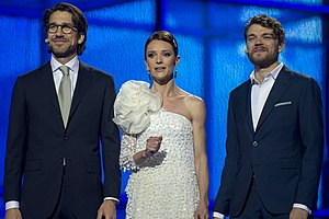 Eurovision Song Contest 2014 - Nikolaj Koppel, Lise Rønne and Pilou Asbæk, the presenters of the Eurovision Song Contest 2014
