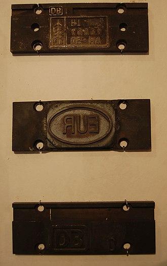 EUR-pallet - Branding irons for marking EUR-pallets, displayed at the Museum der Arbeit, Hamburg, Germany