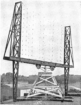 Experimental radar antenna, US Naval Research Laboratory, Anacostia, D. C., late 1930s Early radar antenna - US Naval Research Laboratory Anacostia.jpg