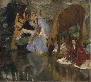 La source (Saint-Léon) - Eugénie Fiocre in La Source, painting by Edgar Degas, circa 1868