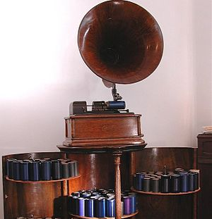 "Eleonora de Cisneros - Edison record cylinders and player, typical of what would play ""Ben Bolt"""