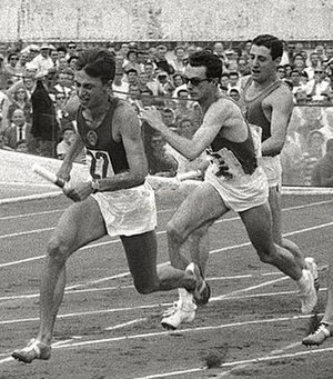 Salvatore Giannone - Salvatore Giannone (right) running the 4×100 m relay at the 1960 Olympics