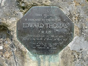 English: Edward Thomas' memorial stone on a hi...