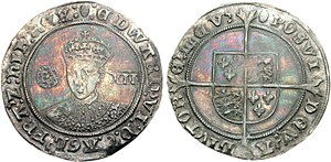 Shilling (British coin) - Shilling of Edward VI, struck between 1551 and 1553