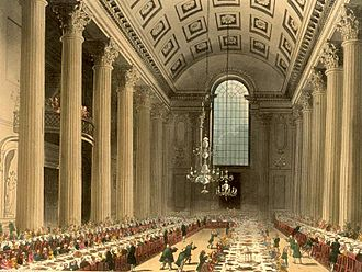 Mansion House, London - An early 19th century banquet in the Egyptian Hall at the Mansion House