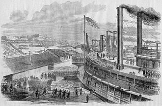 Illinois - Embarkation of Union troops from Cairo on January 10, 1862