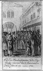 Ende dee Feindseeligkeiten, die Engländer räumen den Americanern Neu-Yorck ein. 1783.jpg