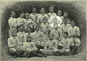 Clapham Rovers F.C. - 1871 England squad with Rovers player R. H. Birkett highlighted
