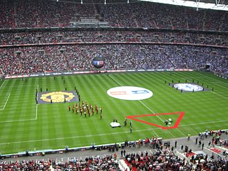 2006–07 FA Cup - Chelsea and Manchester United line up before the 2006-07 FA Cup Final - the first at the new Wembley Stadium.