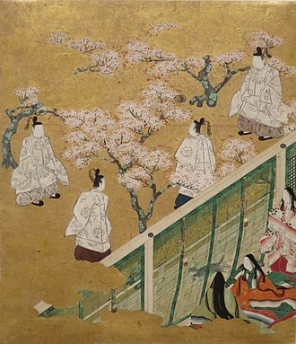 Sudare - Image: Episode from Chapter 34 from the series 'The Tale of Genji', anonymous 18th century Japanese painting, Honolulu Museum of Art