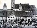 Erdély, Medgyes, főtere (ma Piaţa Regele Ferdinand I), háttérben az evangélikus templom. Fortepan 96266.jpg