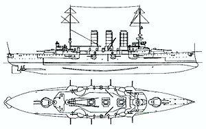 Erzherzog Karl-class battleship - Right elevation and plan of the Erzherzog Karl class