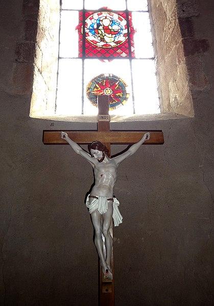 Alsace, Bas-Rhin, Église Saint-Trophime d'Eschau (PA00084707, IA00023089).Christ en croix (?). Verrière du chœur (XIIIe-XIVe):    This object is indexed in the base Palissy, database of the French furniture patrimony of the French ministry of culture,under the referenceIM67008298.  Brezhoneg| Català| Deutsch| English| Español| Suomi| Français| Magyar| Italiano| Plattdüütsch| Português| +/−