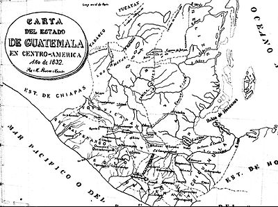 Guatemala territory during Rafael Carrera and Vicente Cerna conservative regimes. Soconusco territories were given to Mexico in exchange for their support to the Liberal revolution in 1871 by Herrera-Mariscal treaty of 1882. Estadoguatemala1832 2014-06-22 10-02.jpg