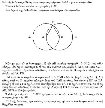 A proof from Euclid's elements that, given a line segment, an equilateral triangle exists that includes the segment as one of its sides. The proof is by construction: an equilateral triangle ΑΒΓ is made by drawing circles Δ and Ε centered on the points Α and Β, and taking one intersection of the circles as the third vertex of the triangle.