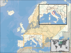 Location of  San Marino  (circled in inset)on the European continent  (white)