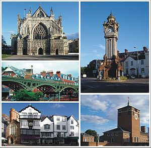 Exeter - Clockwise: The Cathedral, The Clock Tower, Devon County Hall, Cathedral Close, The Iron Bridge.