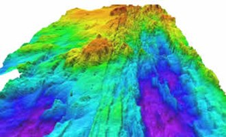 Explorer Ridge - Bathymetry image showing the crest of Southern Explorer Ridge. Purple and dark blue colors indicate deepest depths.