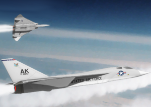 North American XF-108 Rapier - Artist's impression of two F-108s attached to Elmendorf AFB, Alaska. Note: Top aircraft's weapons bay opening.