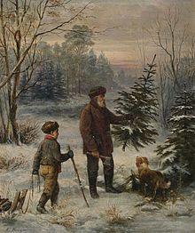 Franz Krüger: vader en zoon halen kerstboom uit bos.